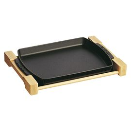 Staub Cast Iron, 15 x 9-inch Rectangular Serving Dish with Wood Base - Matte Black