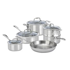 ZWILLING Vista Clad, 10 Piece 18/10 Stainless Steel Cookware Set with Bonus 26cm Non-Stick Frypan