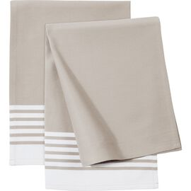 ZWILLING Textiles, 2 Piece Cotton Kitchen towel set striped, Taupe