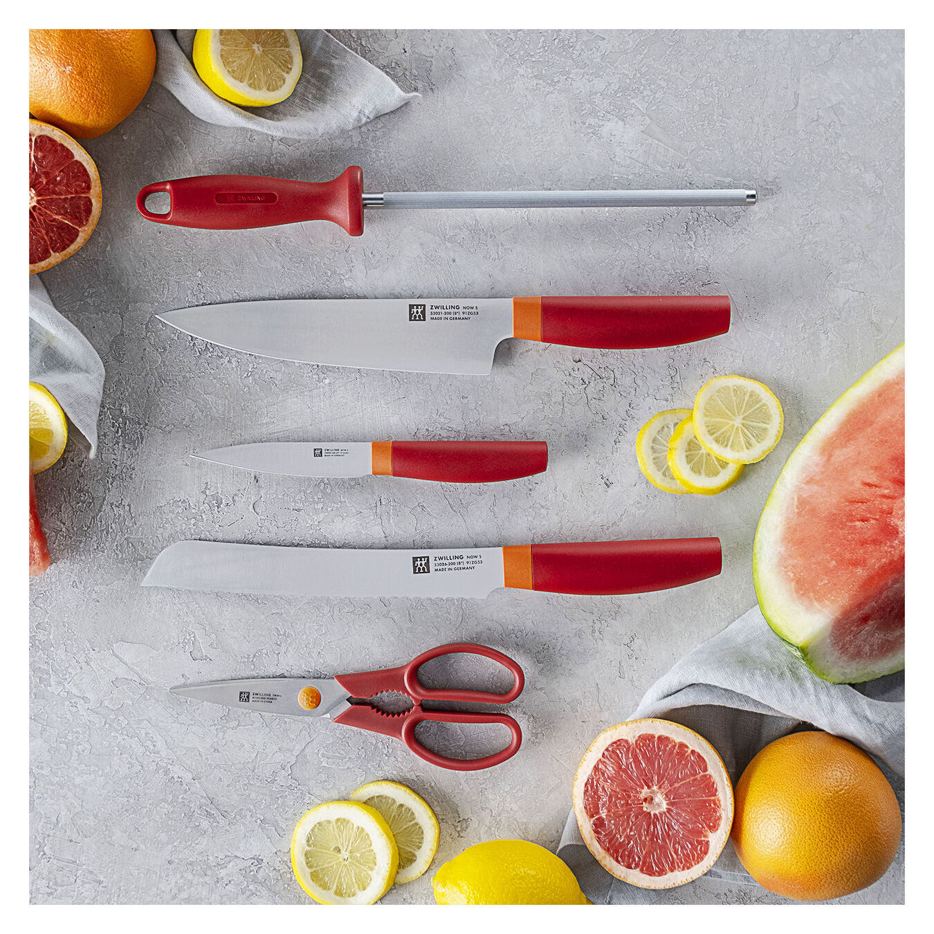 8-pc, Knife block set, orange,,large 4