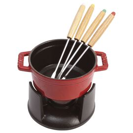 Staub Cast Iron, 0.25-qt Mini Chocolate Fondue Set -  Cherry
