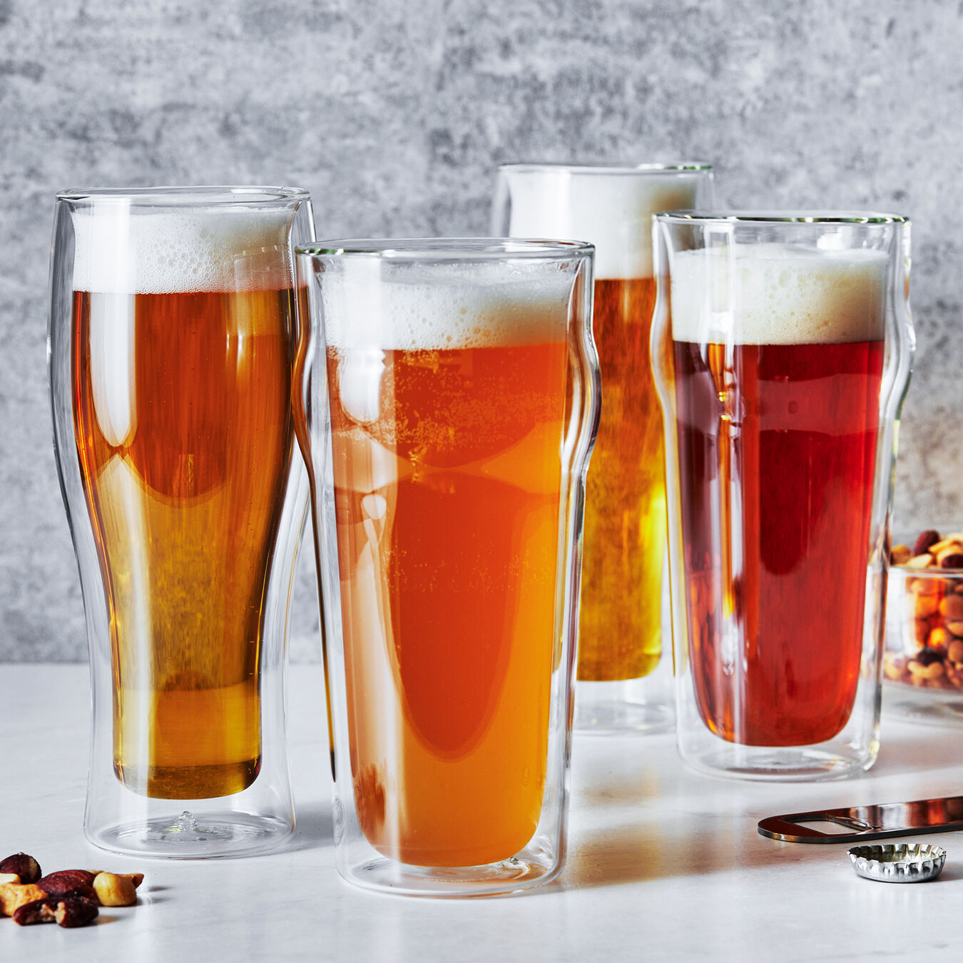 DOUBLE WALL GLASS  4-PIECE BEER SET,,large 2