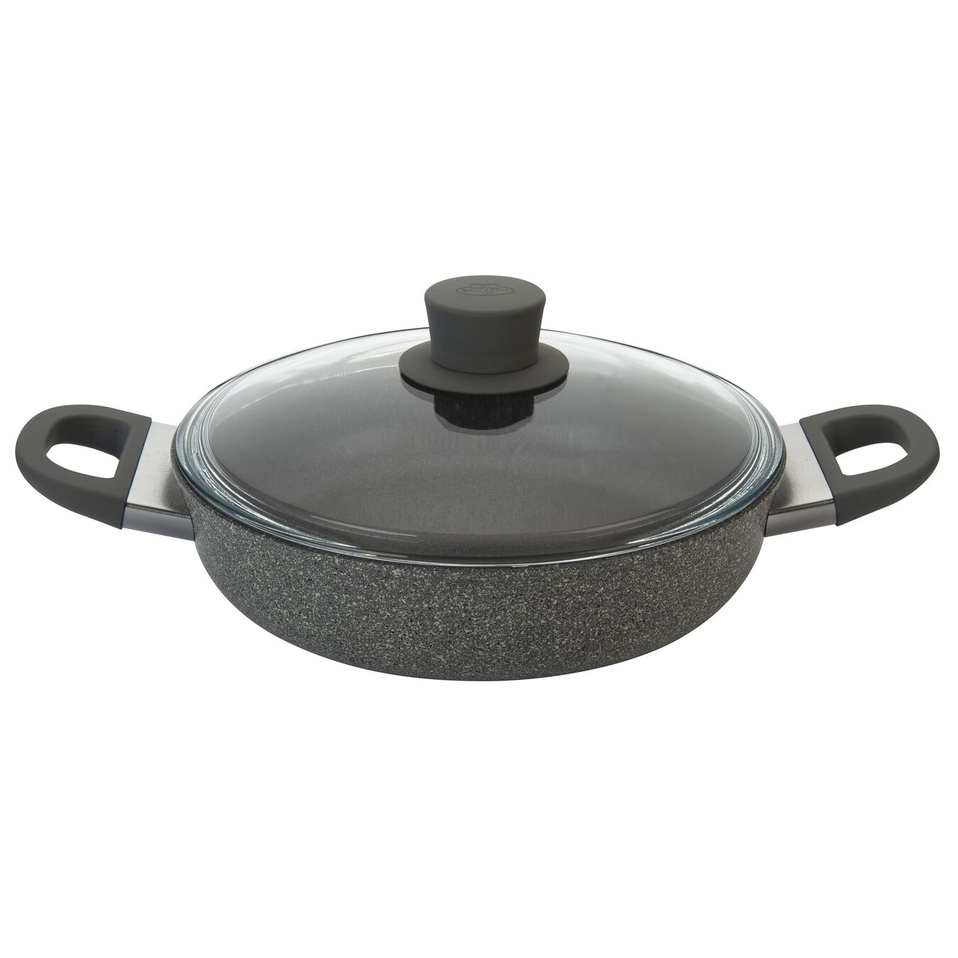 Aluminum round Saucier and sauteuse with glass lid, stone grey,,large 1