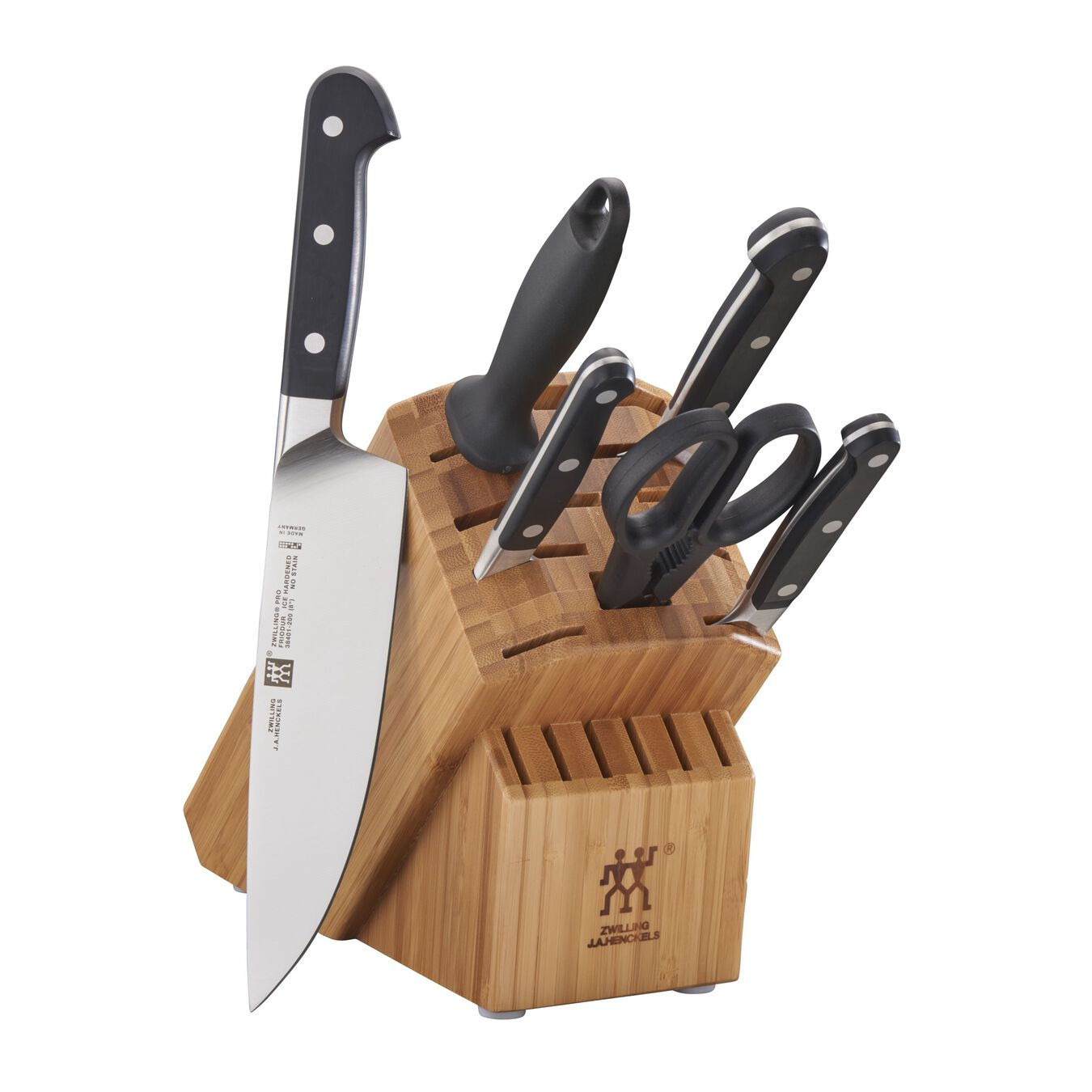 7-pc, Knife block set, bamboo,,large 1