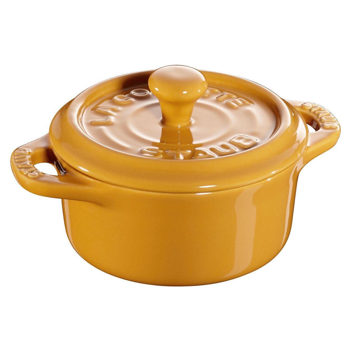 Mini Cocotte 10 cm, Rond(e), Moutarde, Céramique,,large 1