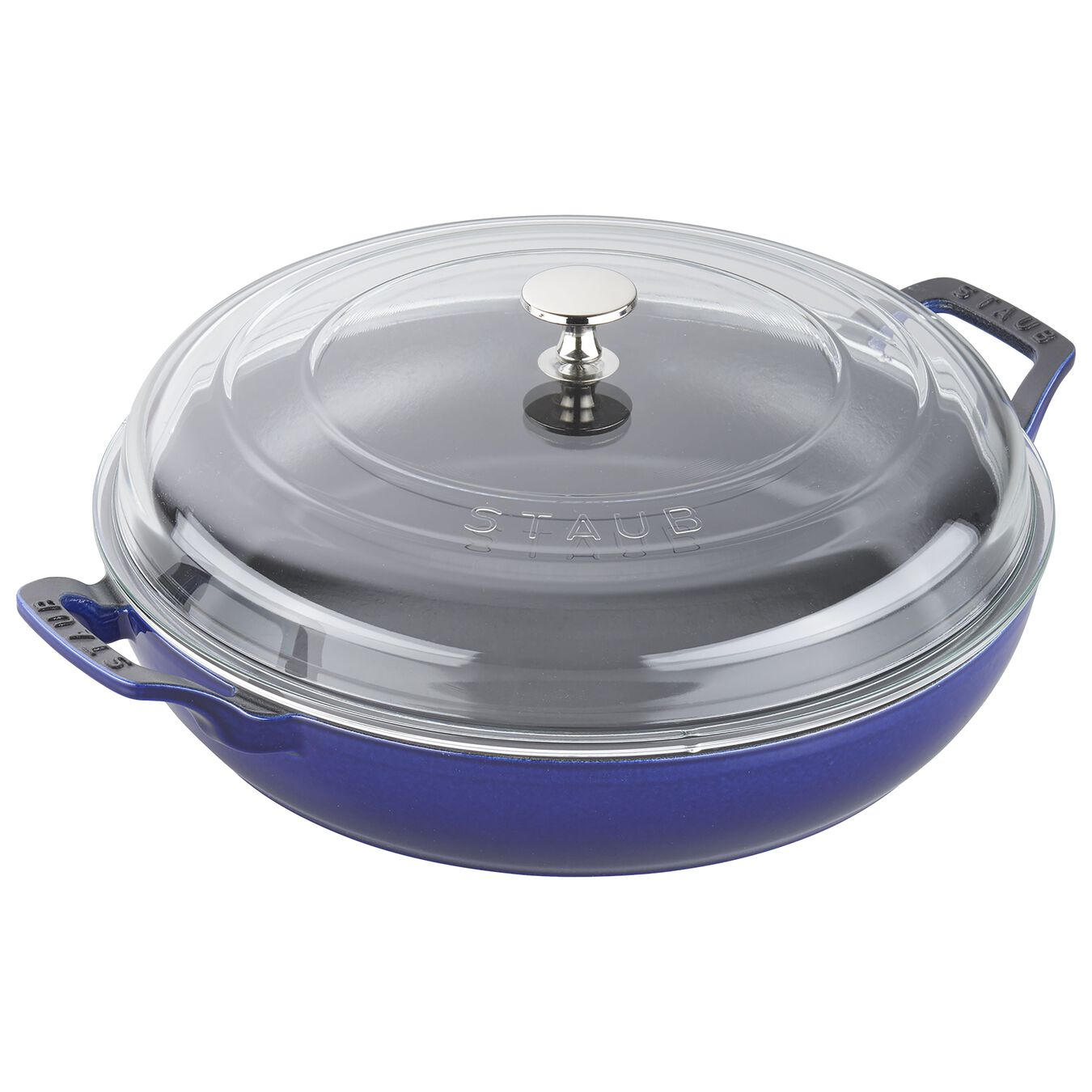 12-inch, Saute pan with glass lid, dark blue,,large 1