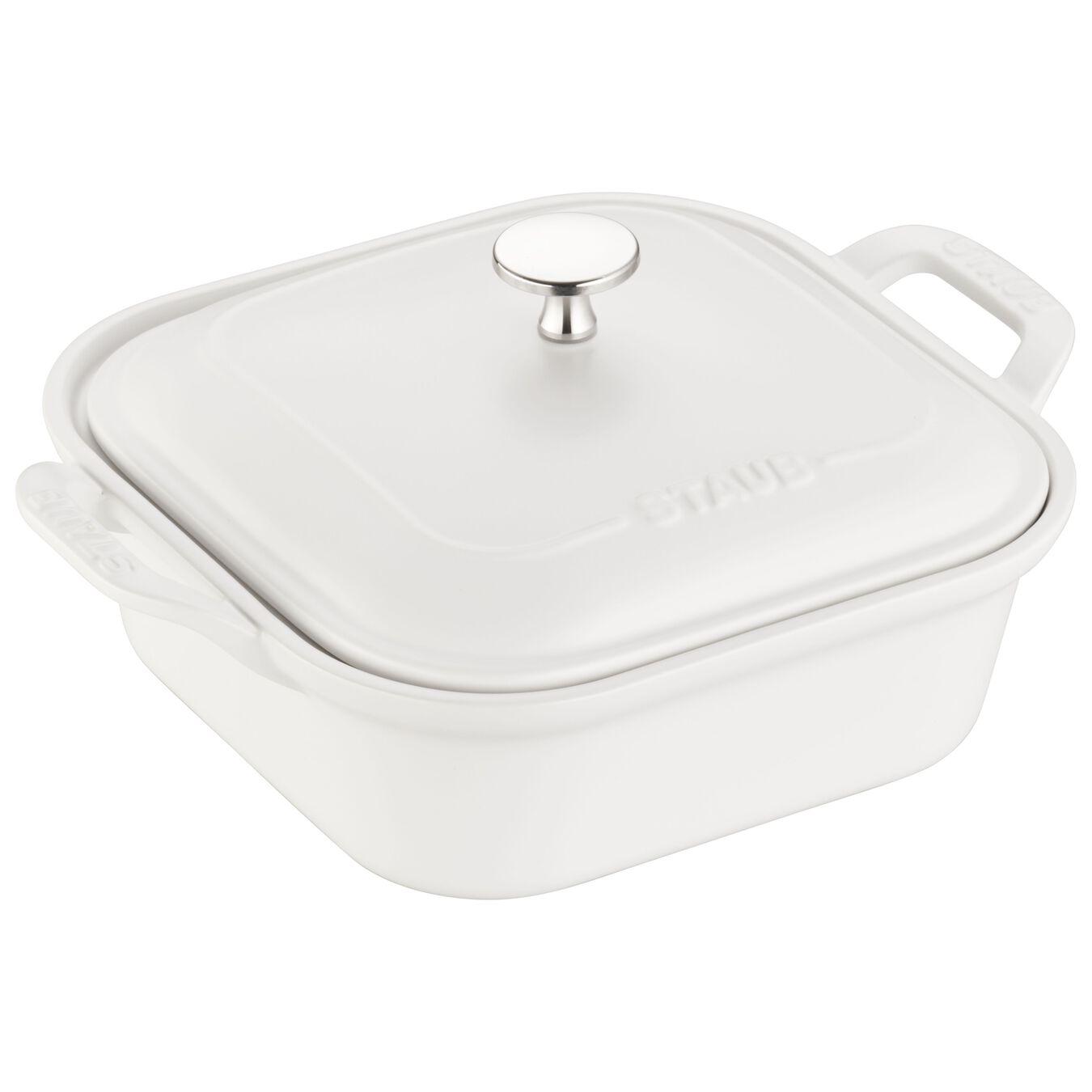 Ceramic square Special shape bakeware, matte-white,,large 1