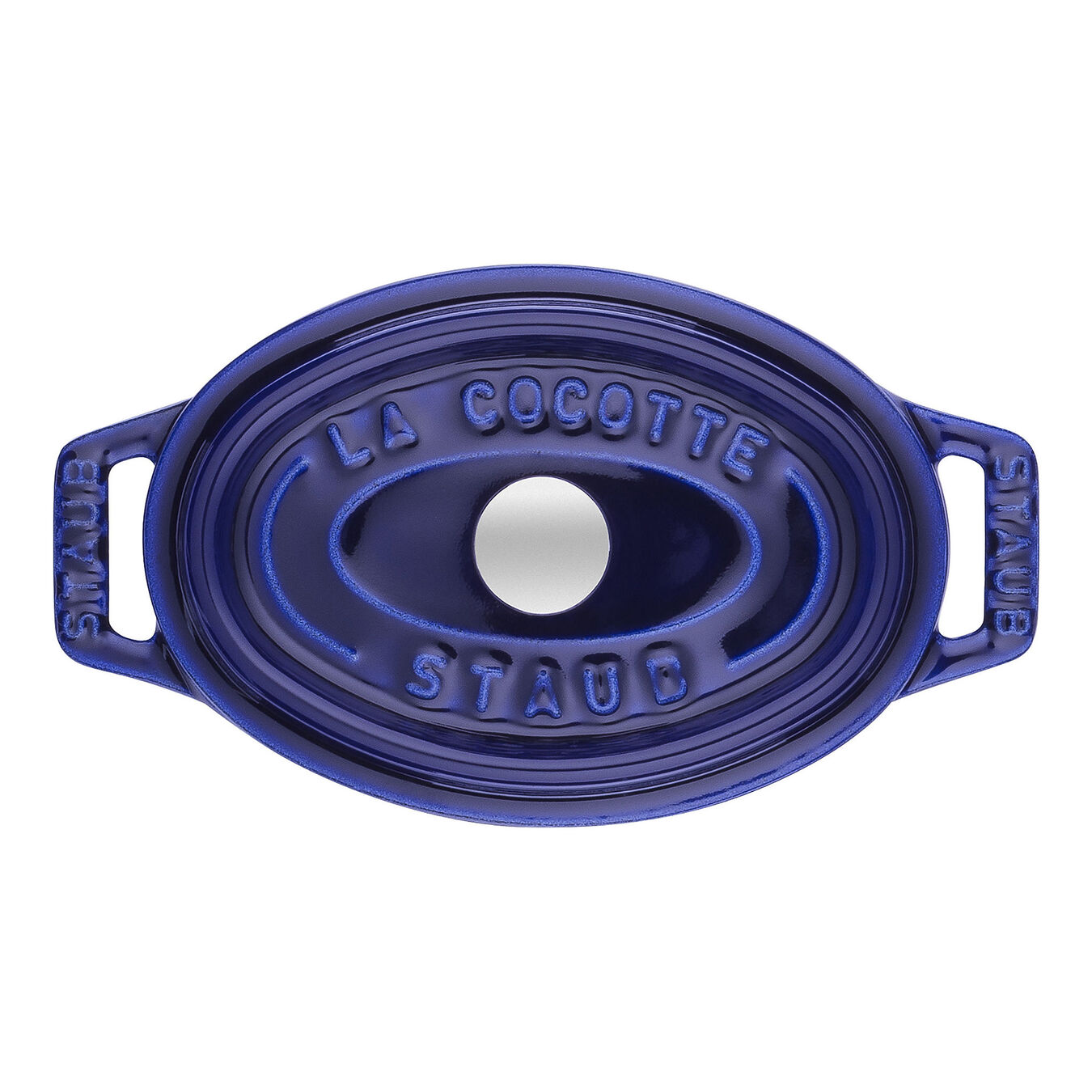 250 ml Cast iron oval Mini Cocotte, Dark-Blue,,large 2