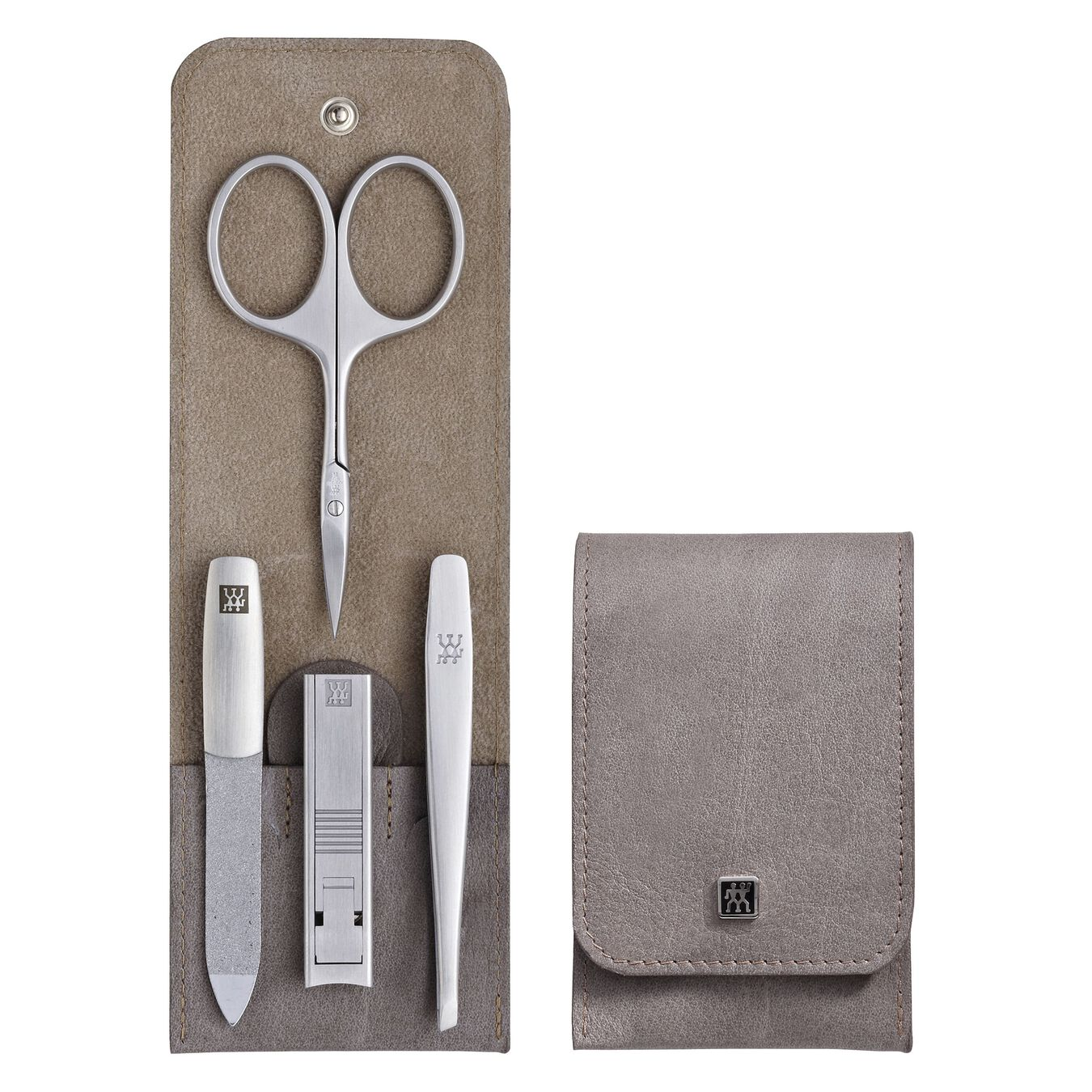 Snap fastener case, 4 Piece   stainless steel   taupe,,large 1