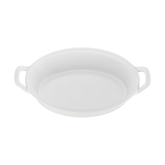 Ceramic Oval Covered Baking Dish, White,,large 2