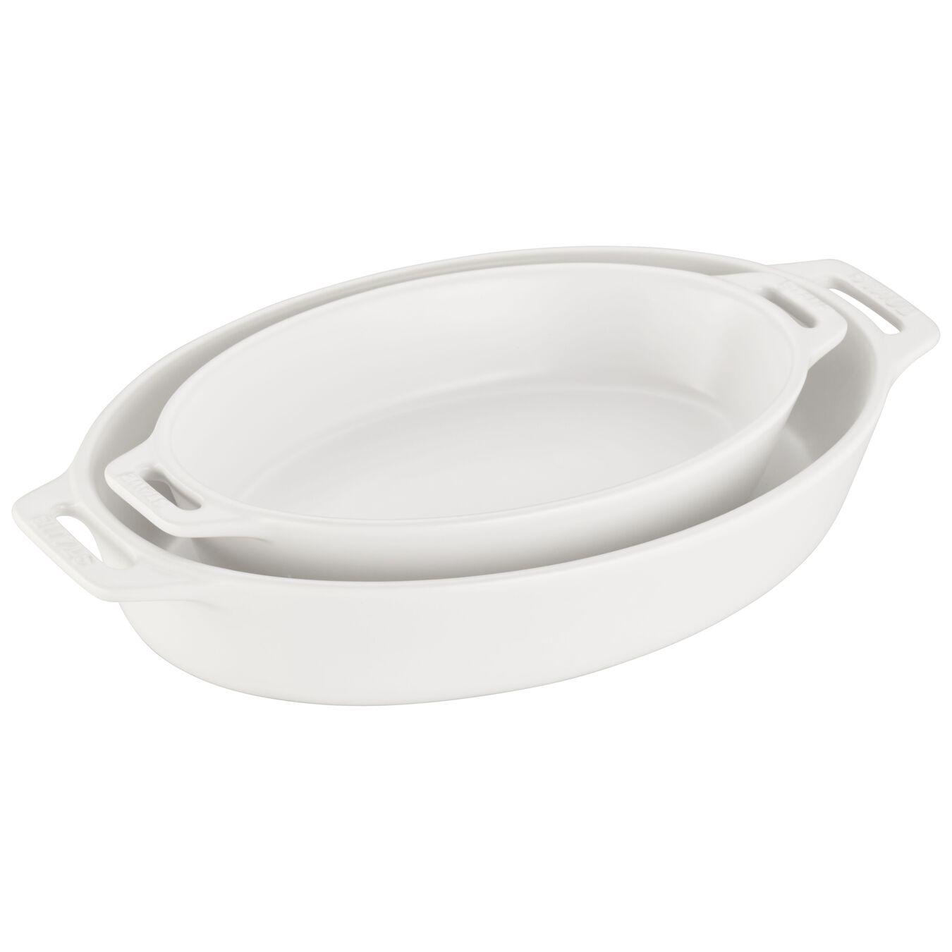 2 Piece oval Bakeware set, Matte-White,,large 1