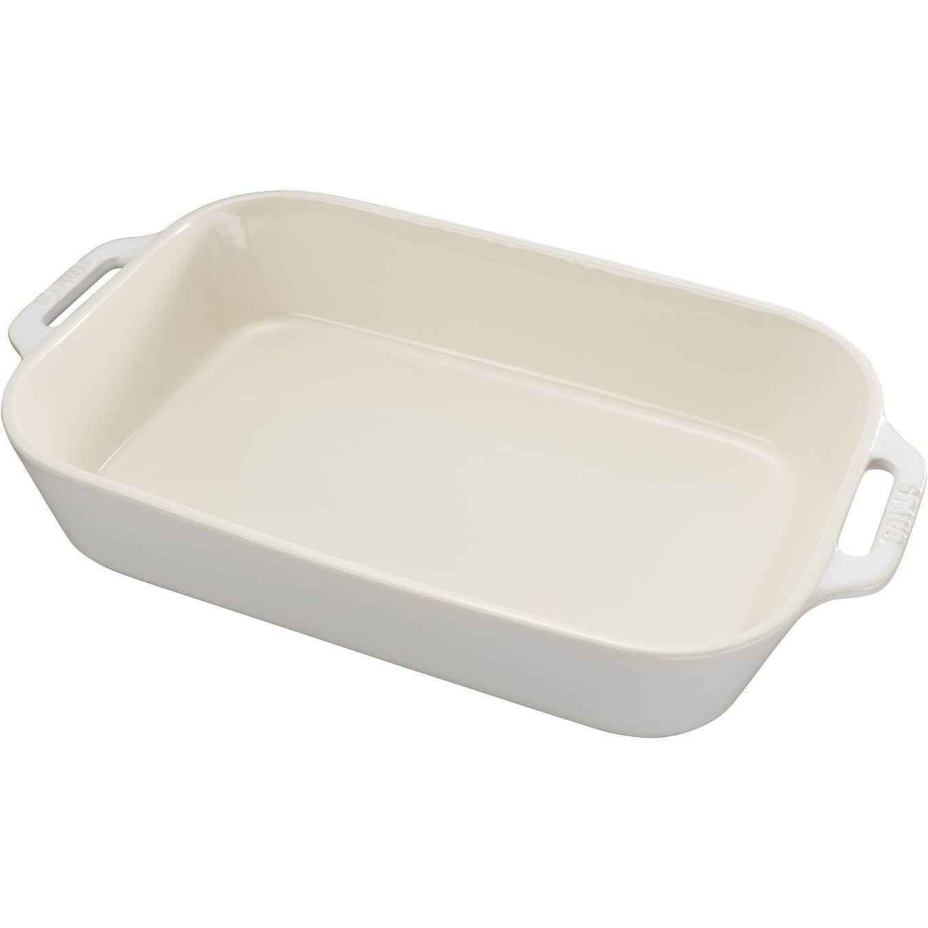 Ceramic rectangular Oven dish, Ivory-White,,large 1