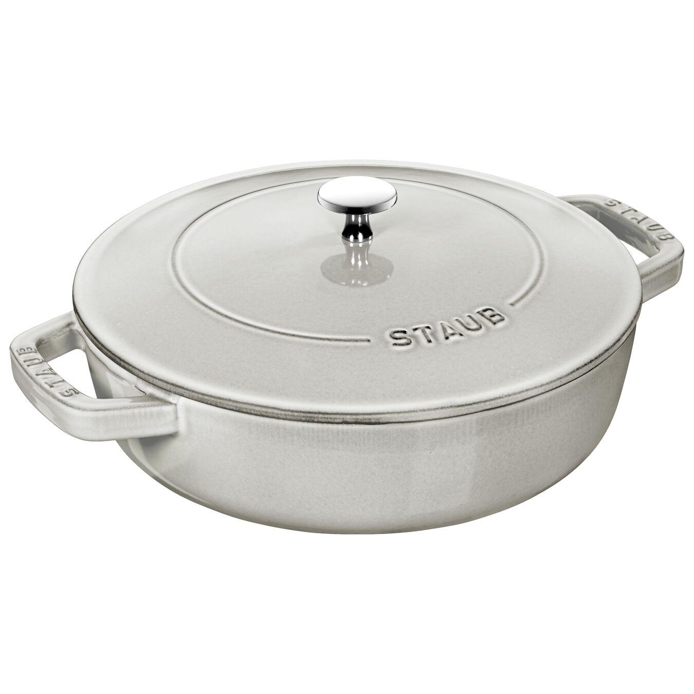 3.25 l Cast iron round Saute pan, white truffle,,large 1