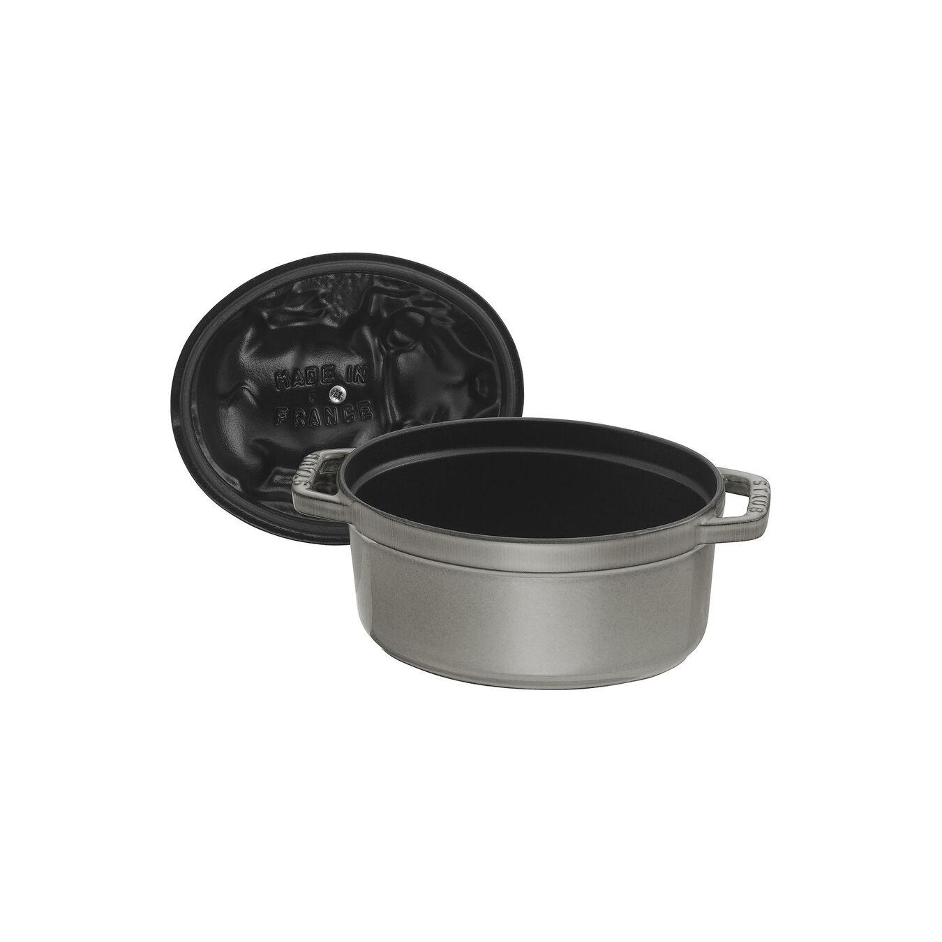 Cocotte 17 cm, Ovale, Gris graphite, Fonte,,large 6
