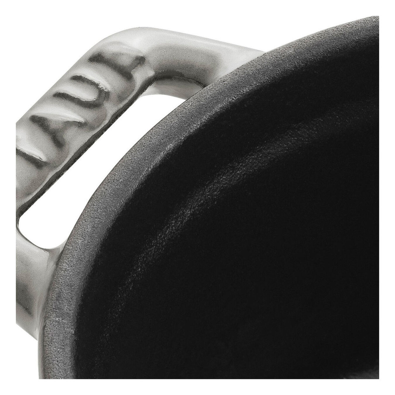 Mini Cocotte 10 cm, rund, Grau, Gusseisen,,large 3