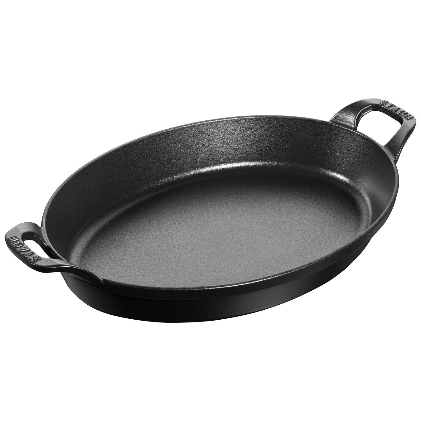 Cast iron oval Oven dish, Black,,large 1