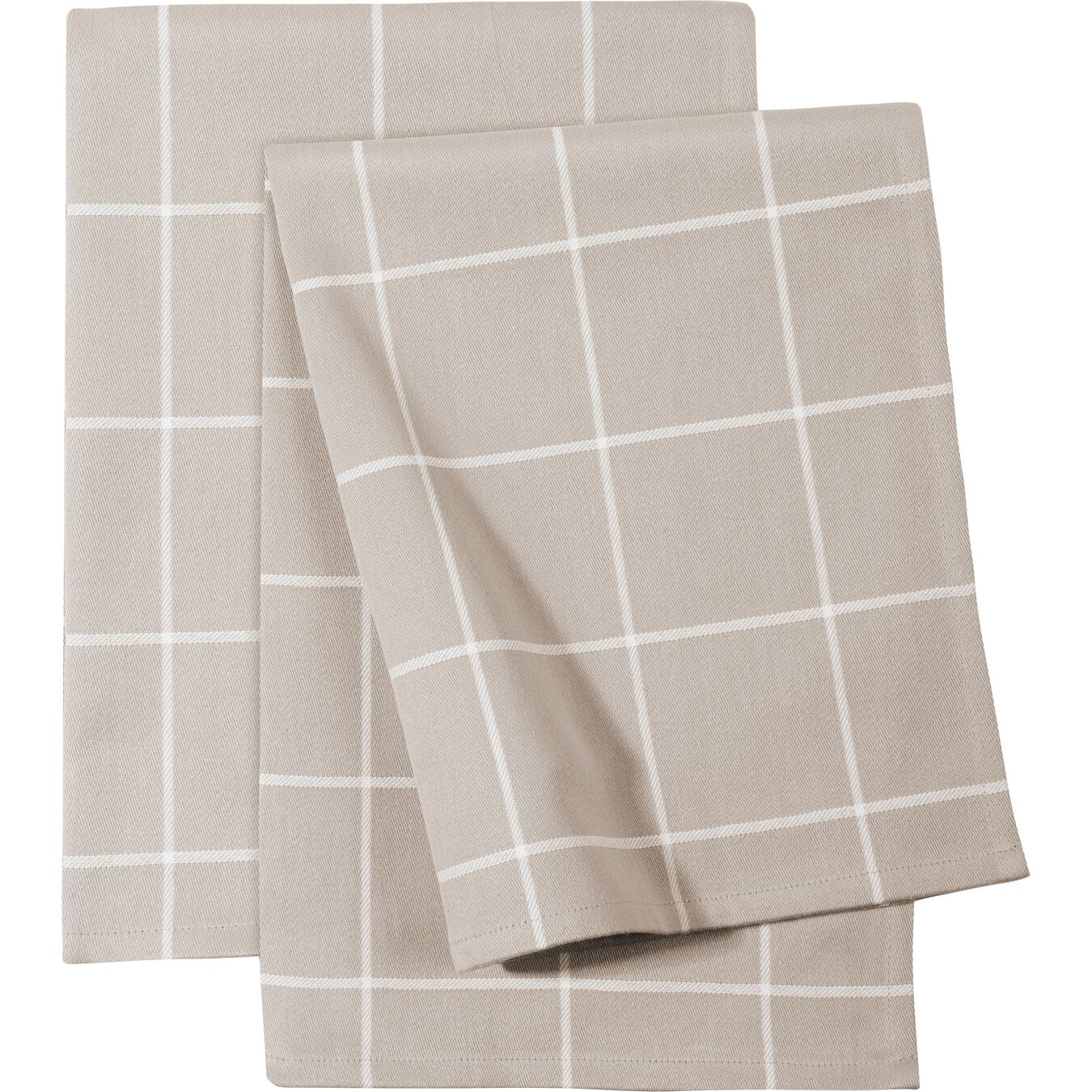 2 Piece 2 Piece Kitchen towel set checkered, taupe,,large 1