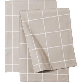 ZWILLING Textiles, 2 Piece cotton Kitchen towel set checkered, taupe