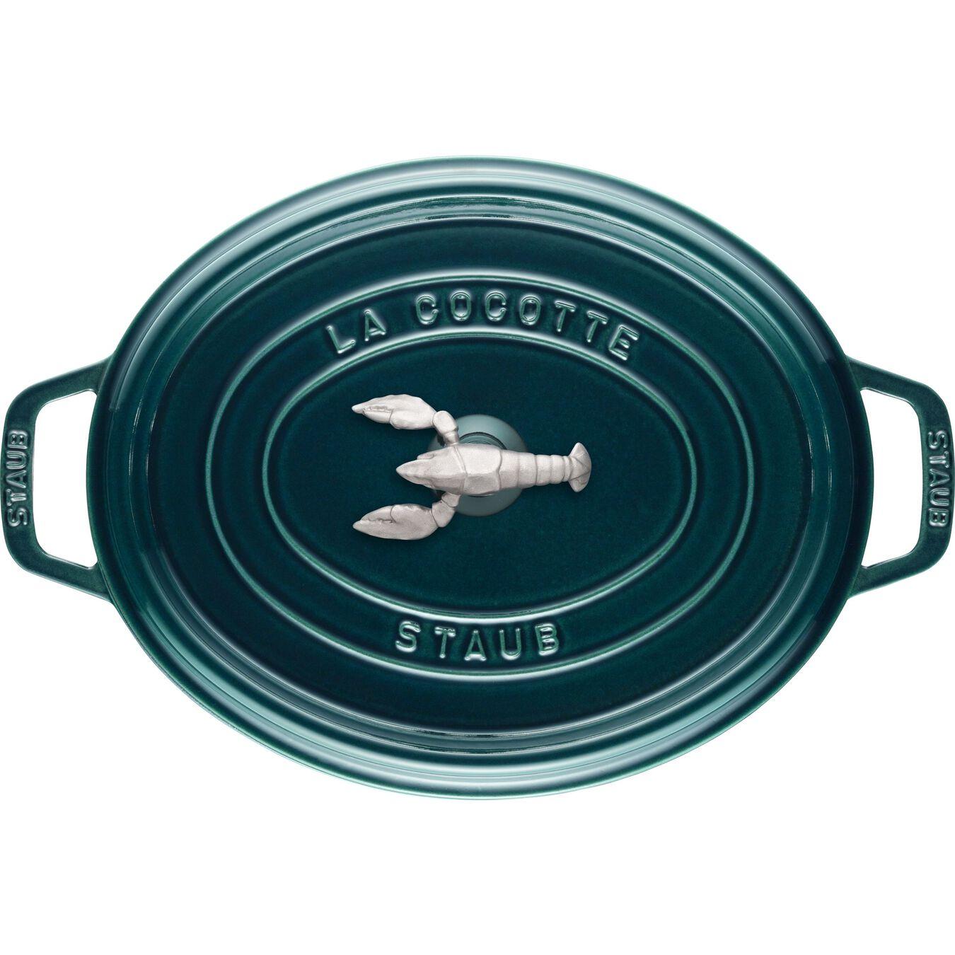 Cocotte bouton homard 31 cm, Ovale, Blue La-Mer, Fonte,,large 3