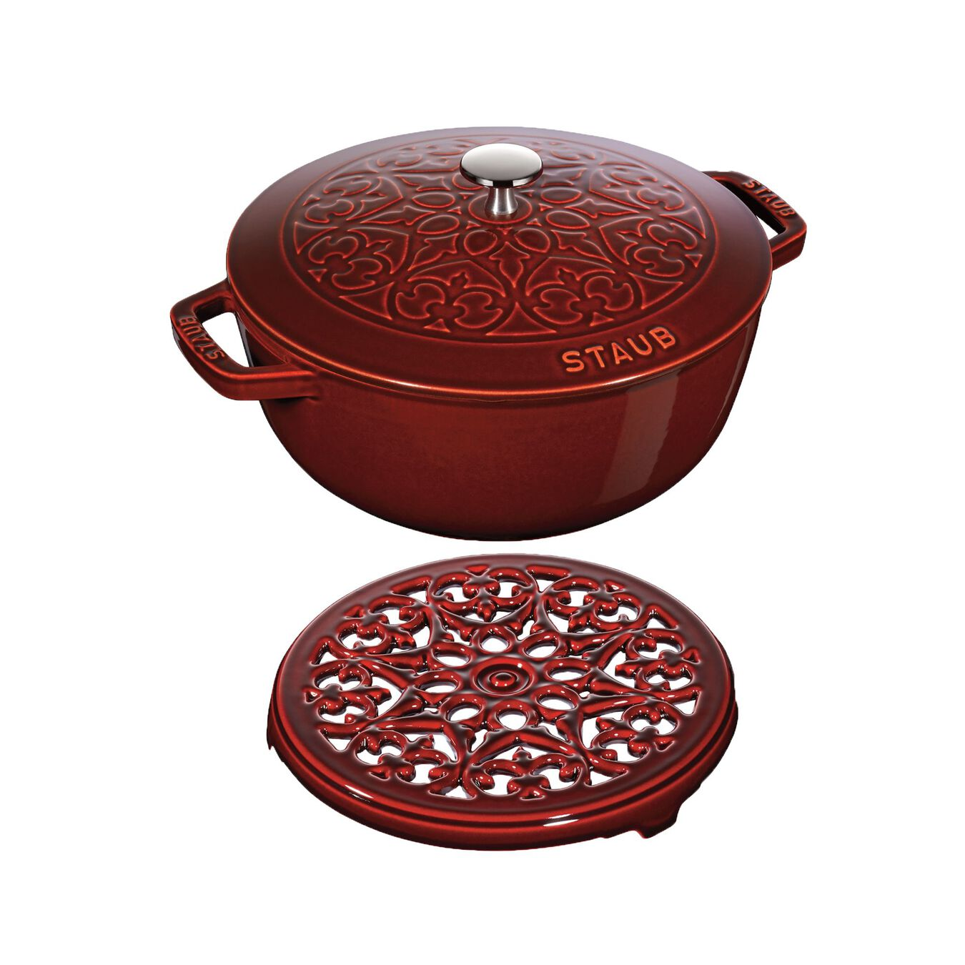 Ensemble de casseroles, 2-pcs | round | Cast iron | Grenadine-Red,,large 1
