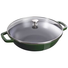 Staub Specialities, 30 cm / 12 inch cast iron Wok with glass lid, basil-green