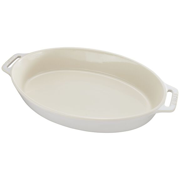 Ceramic Oval Baking Dish, Ivory,,large