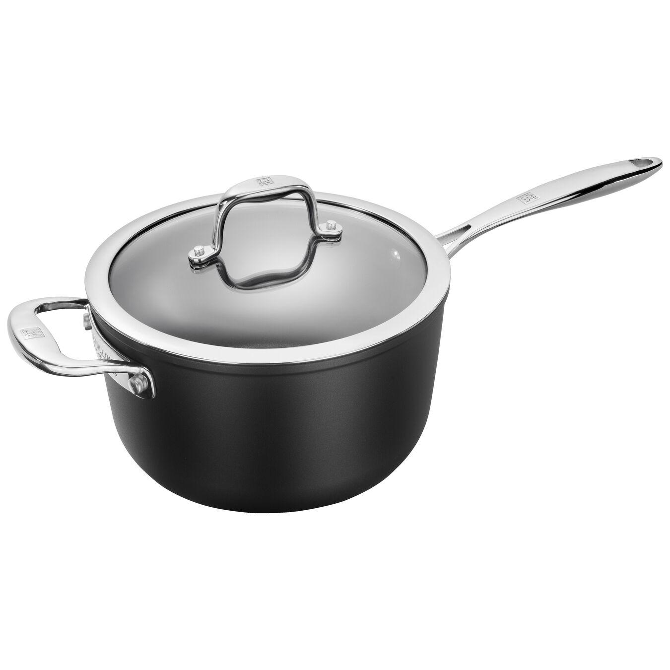 Aluminum round Sauce pan, Silver-Black,,large 1