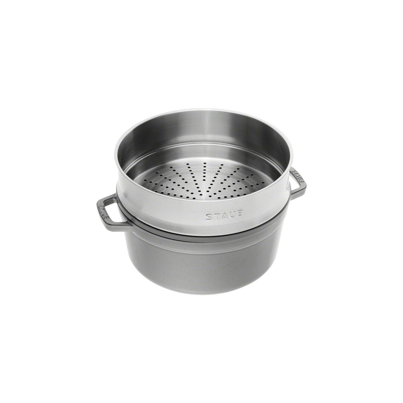 Döküm Tencere Buharlı Pişirici ile | Döküm Demir | 5,25 l | Grafit Gri,,large 2