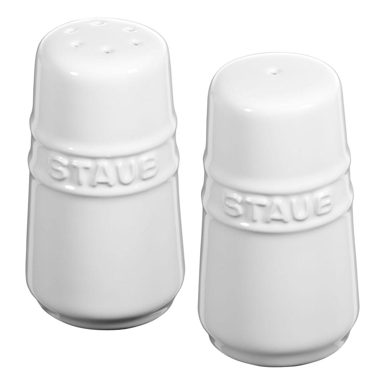 Salière et poivrière 7 cm, Céramique, Blanc pur,,large 1