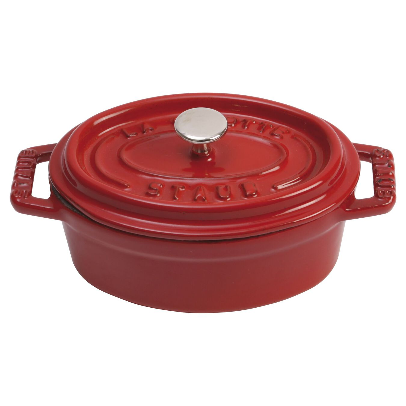 250 ml Cast iron oval Mini Cocotte, Cherry,,large 1
