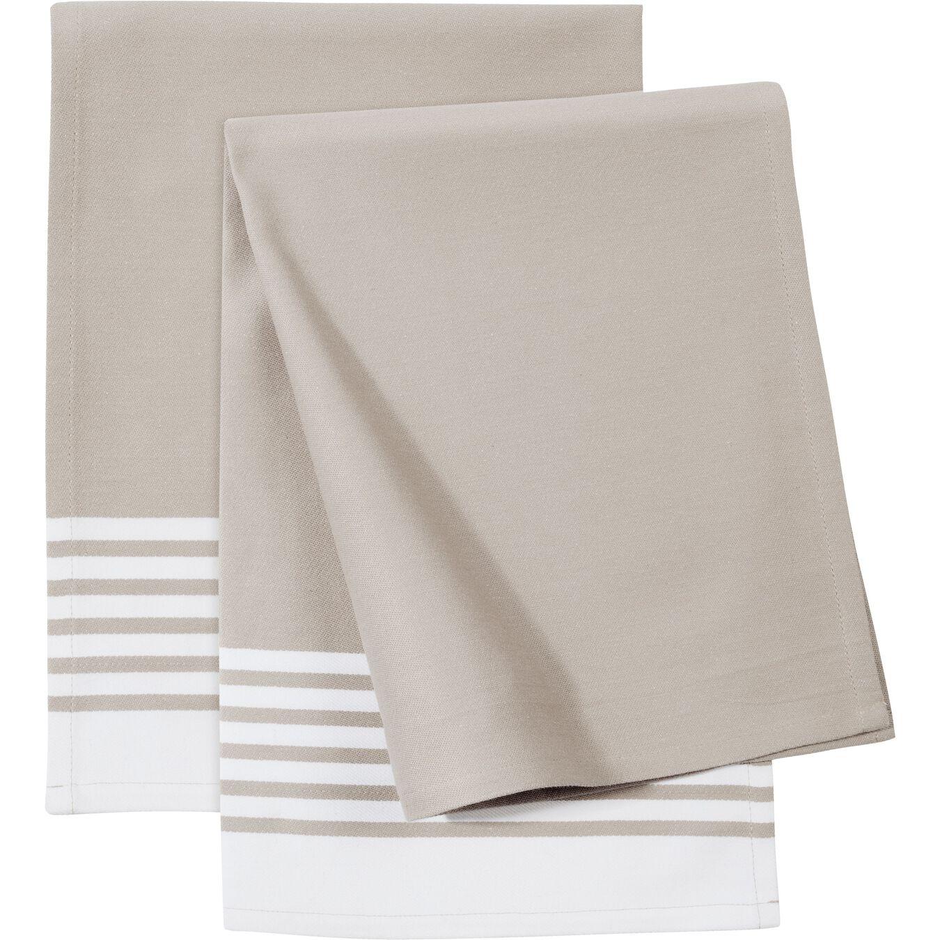 2 Piece Cotton Kitchen towel set striped, Taupe,,large 1