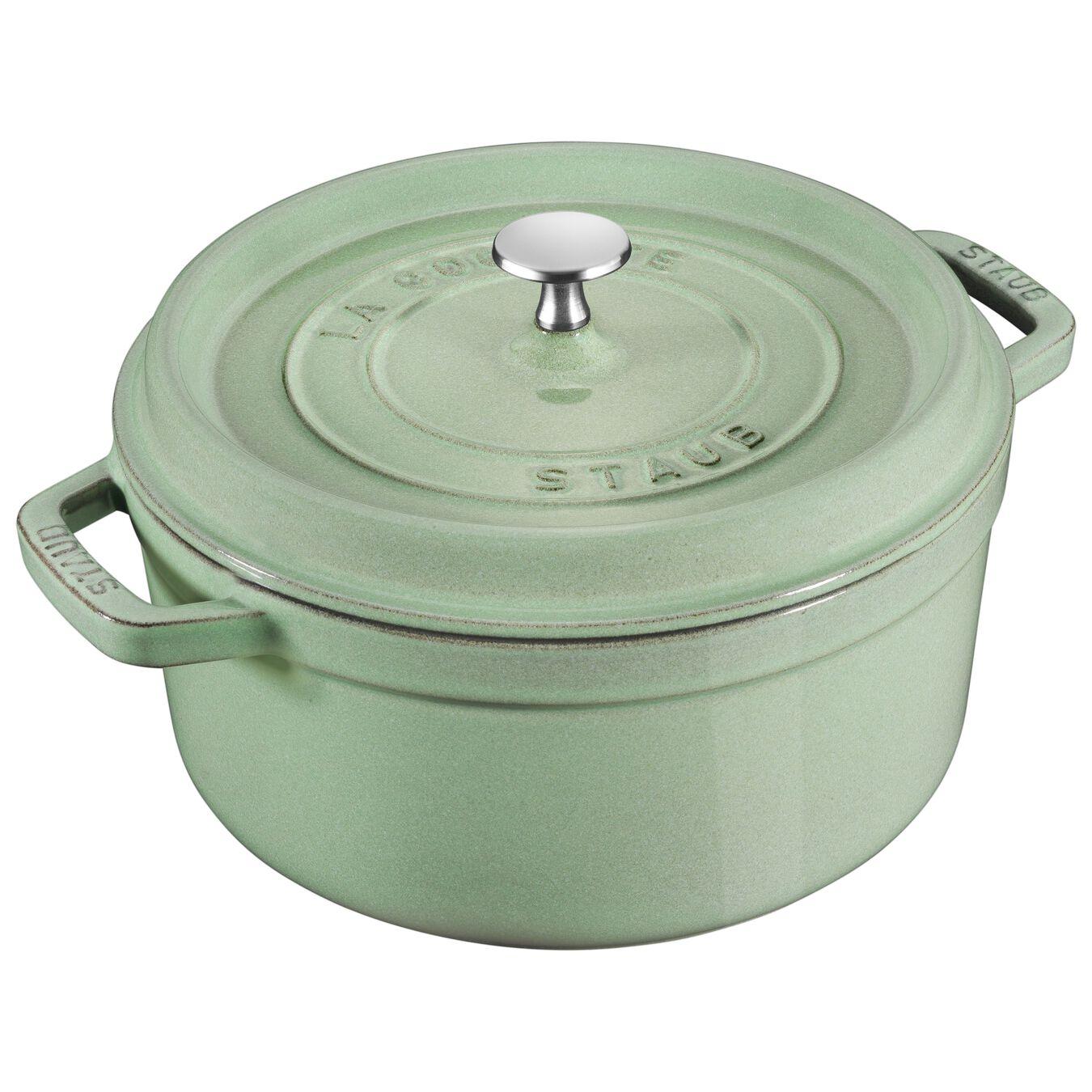 6.75 l Cast iron round Cocotte, sage,,large 1