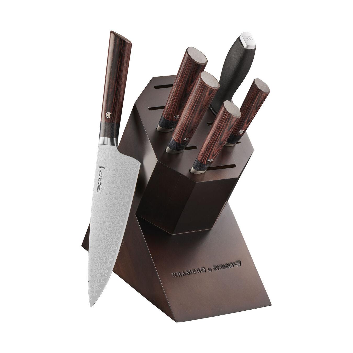 7-pc, Knife block set, brown,,large 1