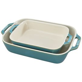 Staub Ceramics, 2-pc Rectangular Baking Dish Set, Rustic Turquoise
