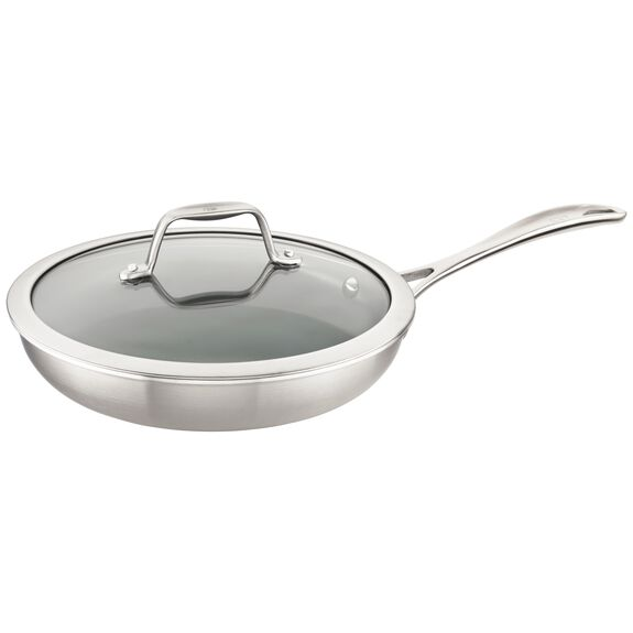 3-ply 9.5-inch Stainless Steel Ceramic Nonstick Fry Pan with Lid,,large