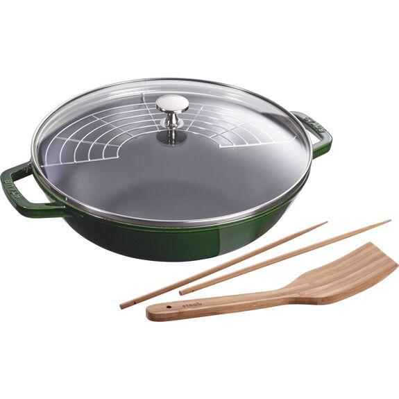 30-cm-/-12-inch Enamel Wok with glass lid, Basil-Green,,large 2