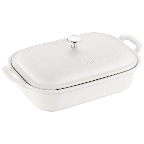 12-inch x 8-inch Rectangular Covered Baking Dish - Matte White,,large