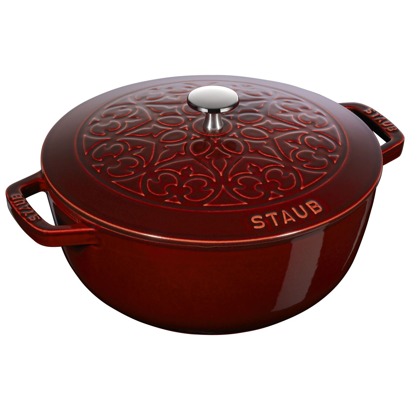 Pot set, lily decal, 2 Piece   round   cast iron   grenadine-red,,large 2