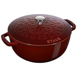 Staub Cast Iron - Specialty Shaped Cocottes, 3.75 qt, Essential French Oven Lilly Lid, grenadine