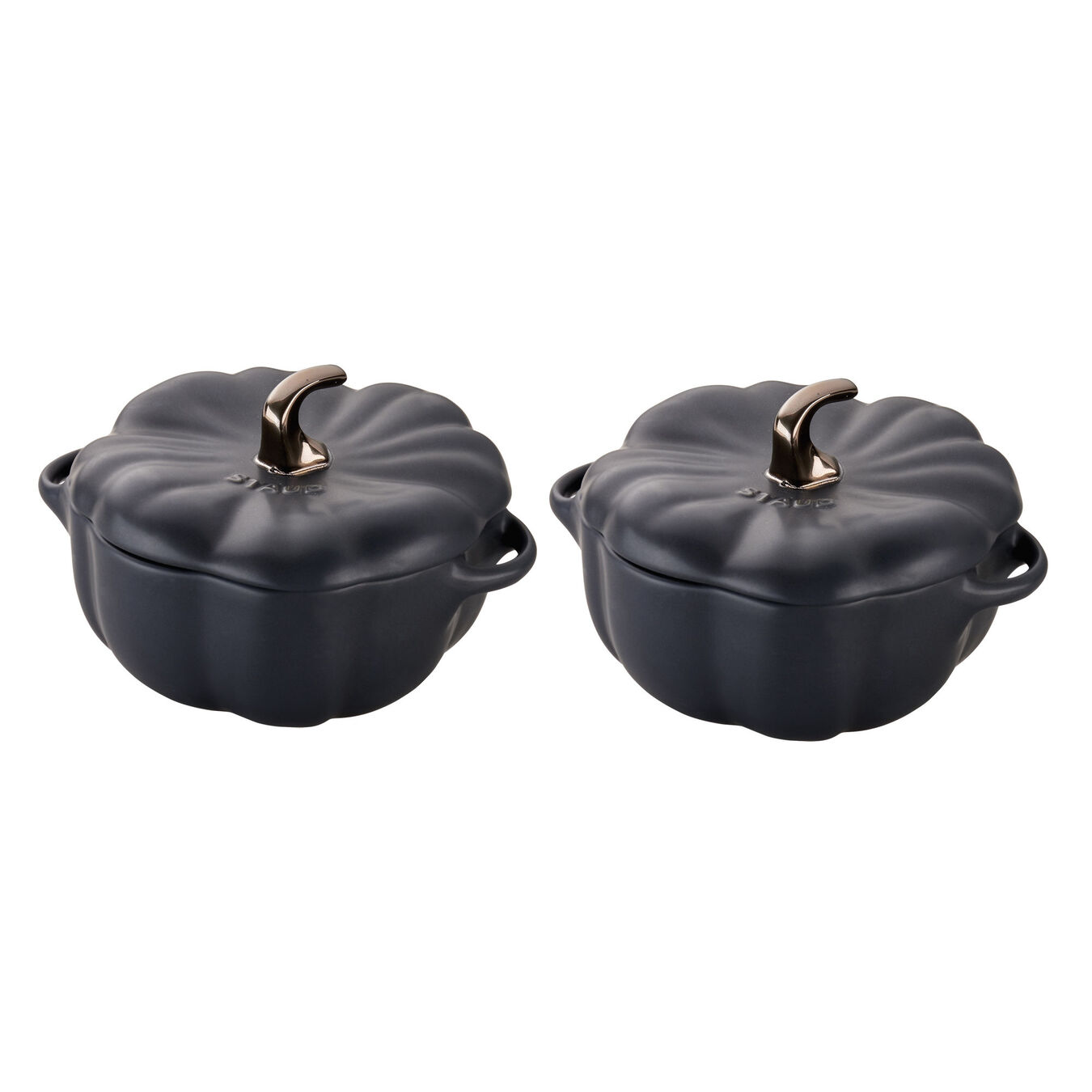 2-pc 16-oz Petite Pumpkin Cocotte Set - Matte Black,,large 1