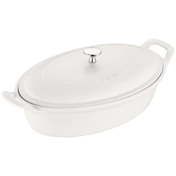 14-inch Oval Covered Baking Dish - Matte White,,large