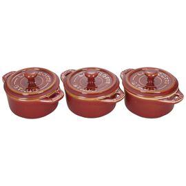 Staub Ceramics, 3-pc Mini Round Cocotte Set, Rustic Red