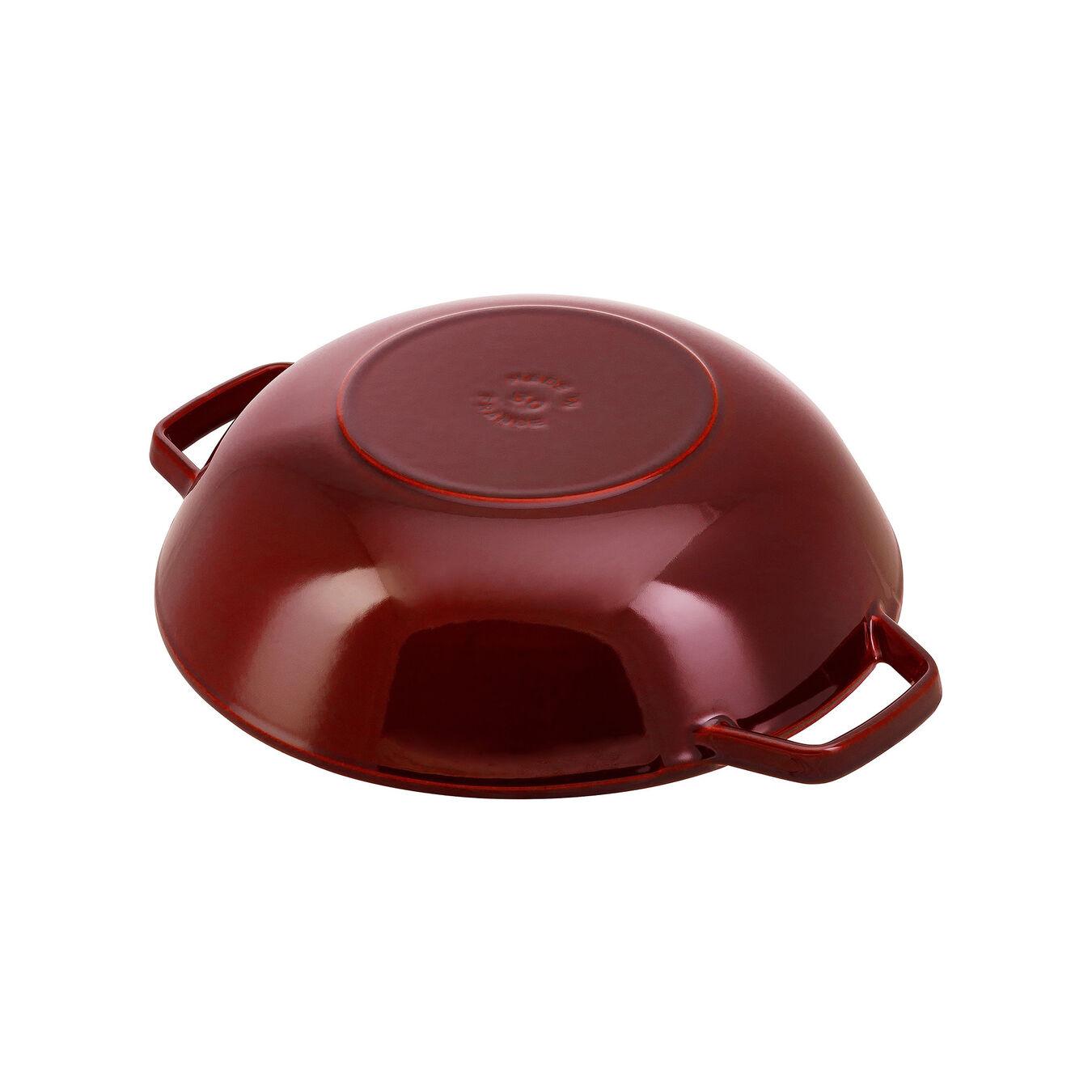 Wok con coperchio in vetro rotondo - 30 cm, granatina,,large 3