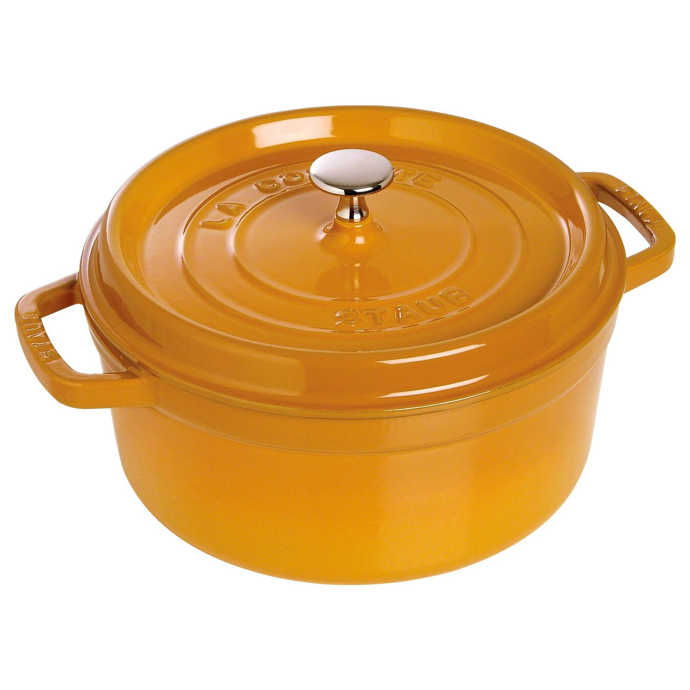 3.8 l Cast iron round Cocotte, mustard,,large 2