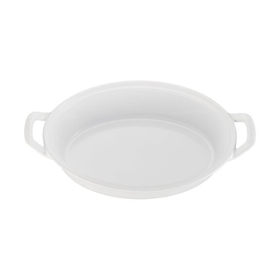 14-inch Oval Covered Baking Dish - White,,large 2
