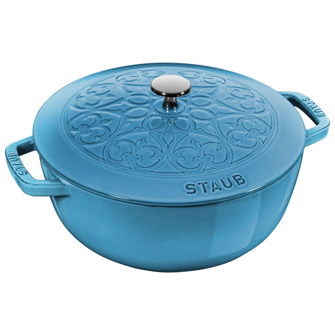 Pot set, lily decal, 2 Piece   round   cast iron   ice-blue,,large 2