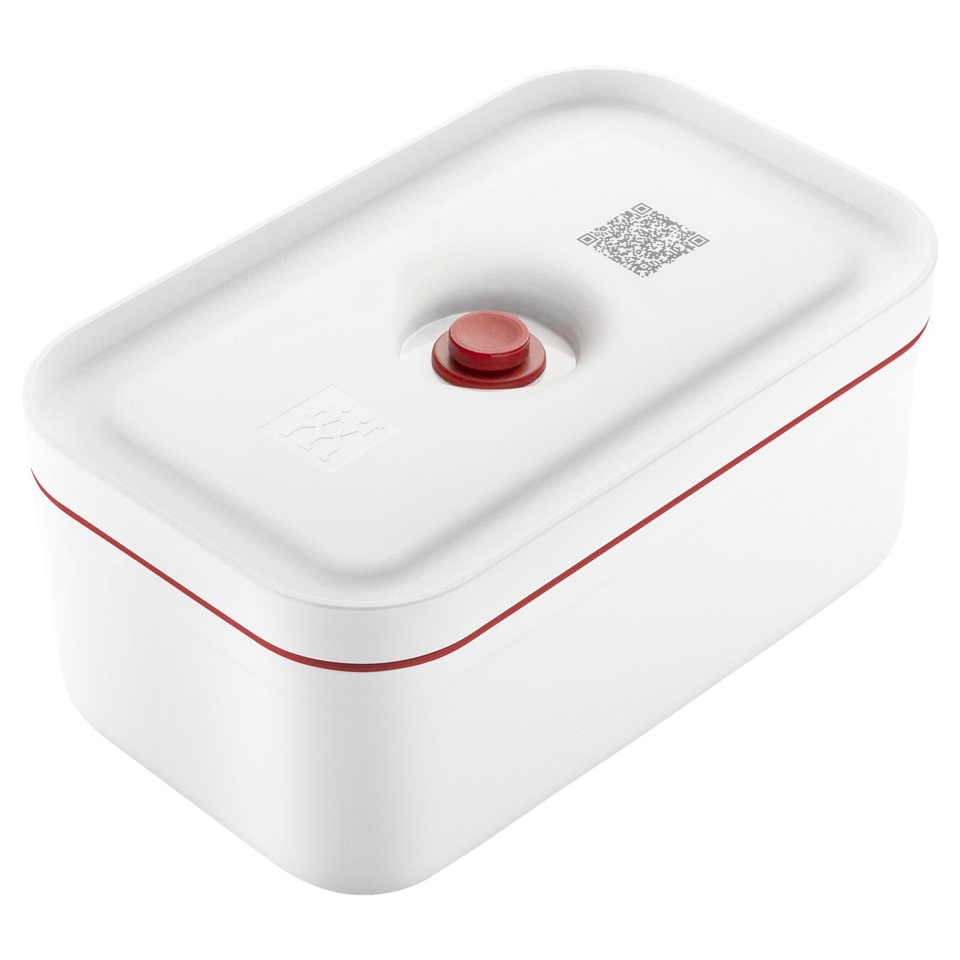 Vakuum Lunchbox, M, Kunststoff, Weiß-Rot,,large 1