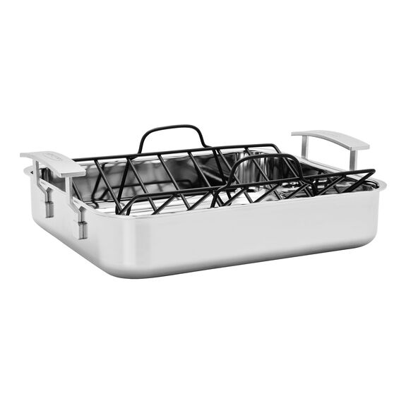 39.37-cm-/-15.5-inch  Roaster + grid, Silver,,large