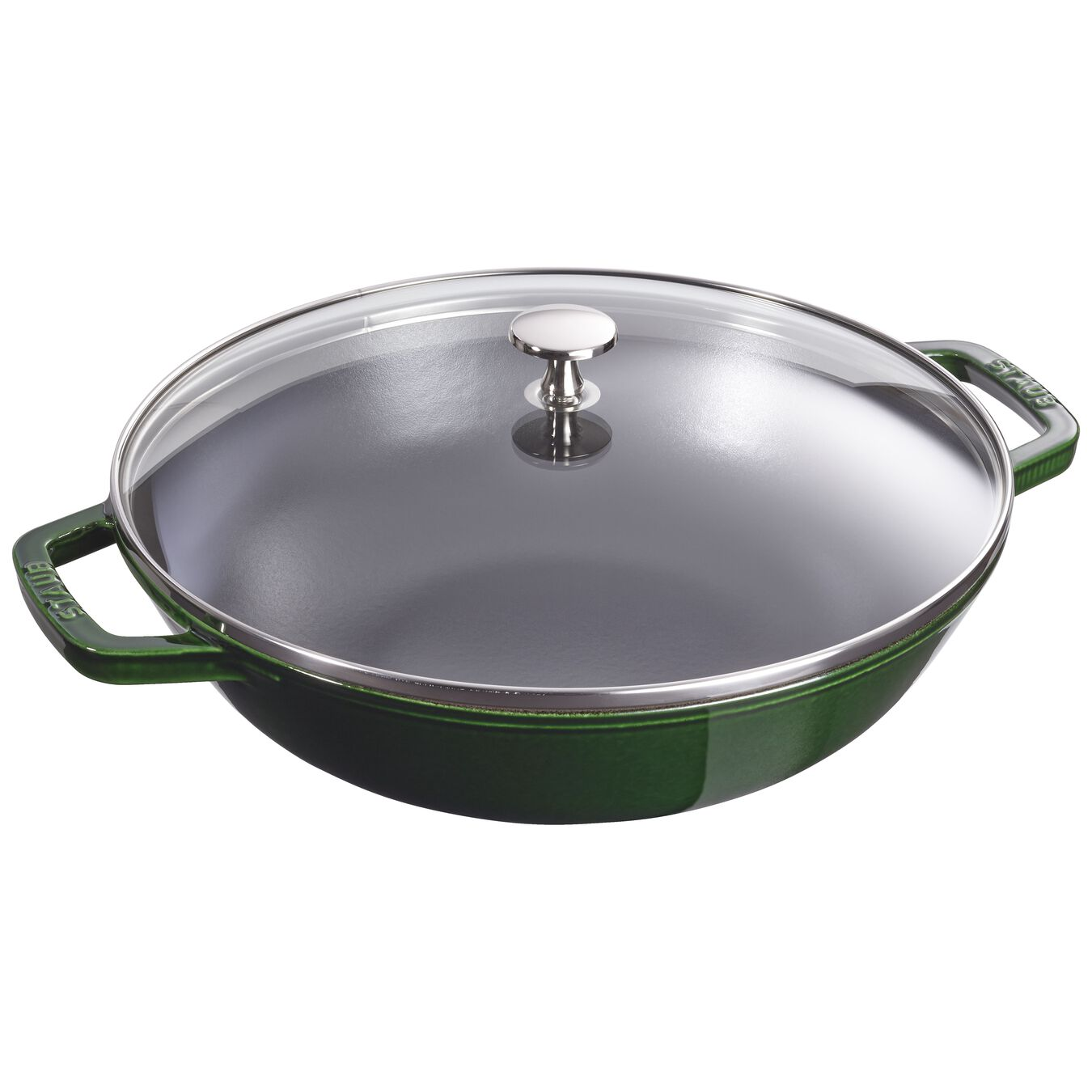 30 cm Cast iron Wok with glass lid, Basil-Green,,large 1
