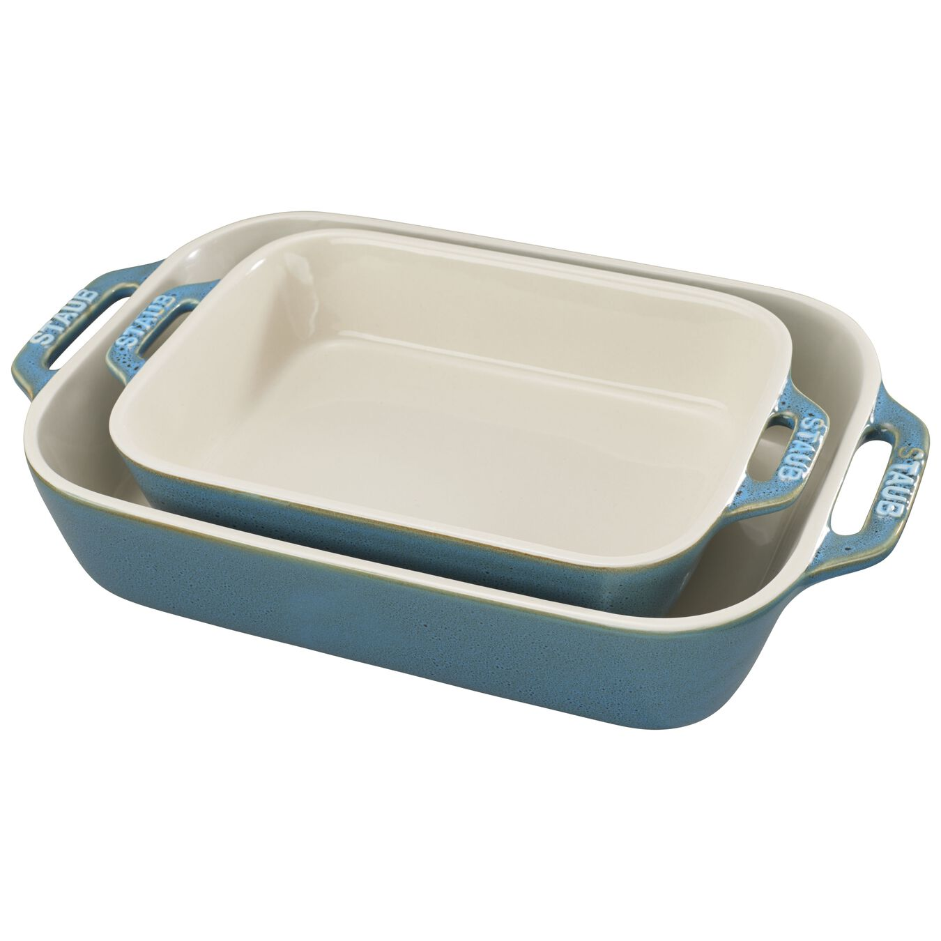 2-pc, Ovenware set, rustic turquoise,,large 1